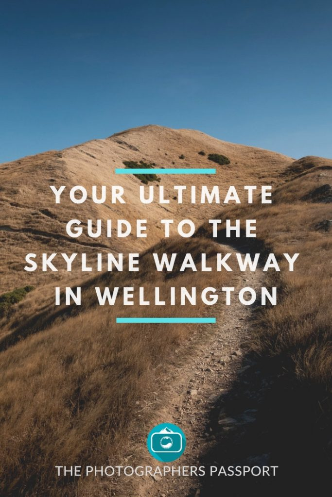 Skyline Walkway pinterest pin showing a footpath and route heading towards large golden grass covered hills.