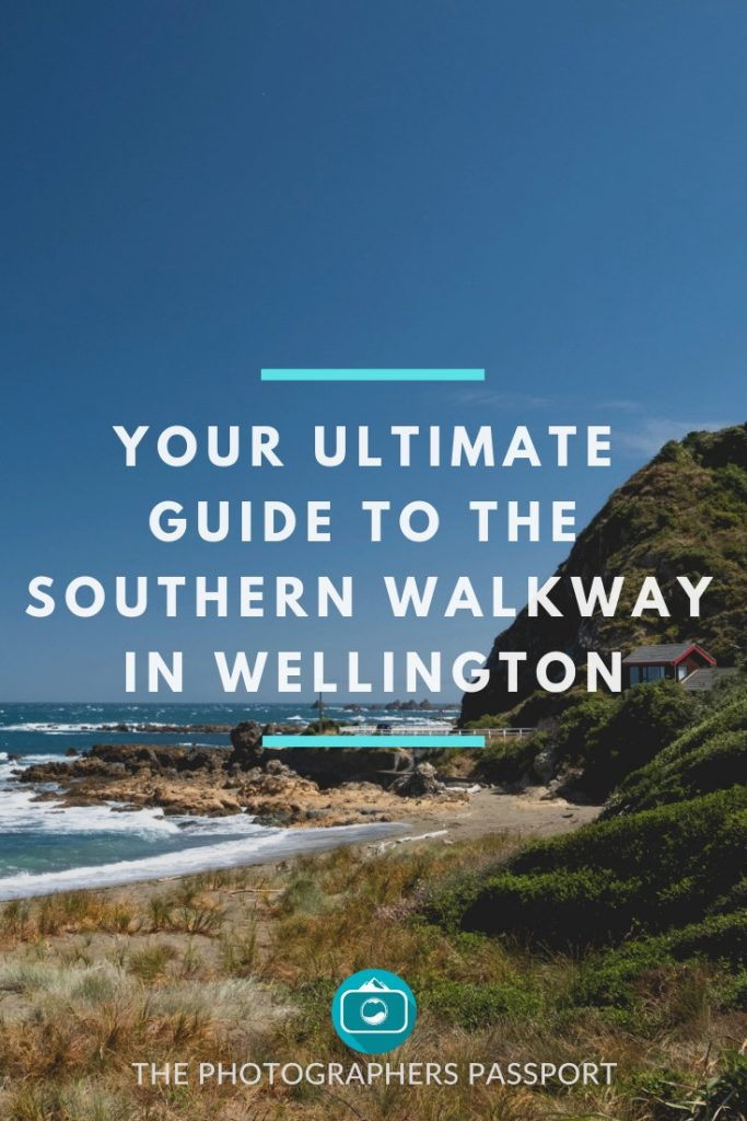 Southern Walkway Pinterest pin that shows some of the beautiful coastal views that you are treated to at the end of the walk.