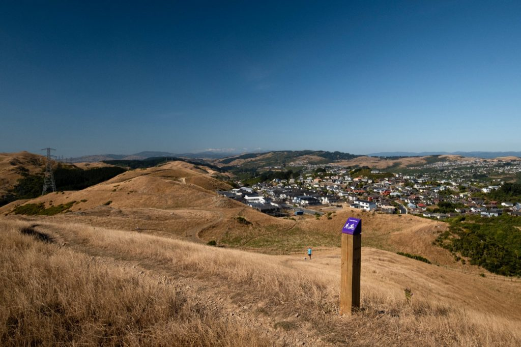 Looking back over the suburb of Johnsonville in Wellington whilst hiking the Skyline Walkway trail