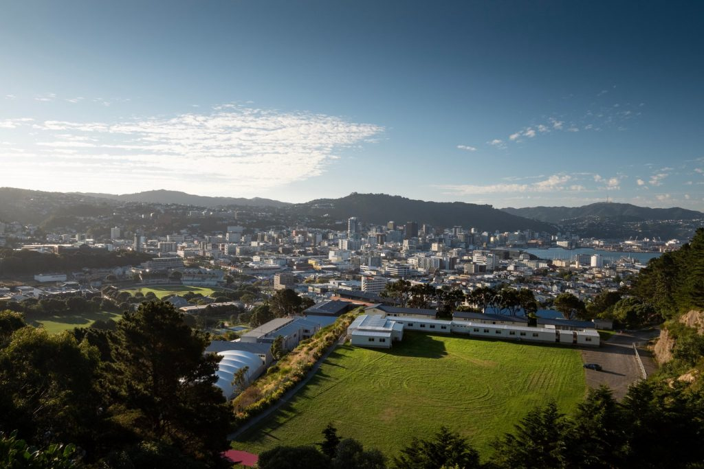 Looking over the city of Wellington from a high viewpoint.