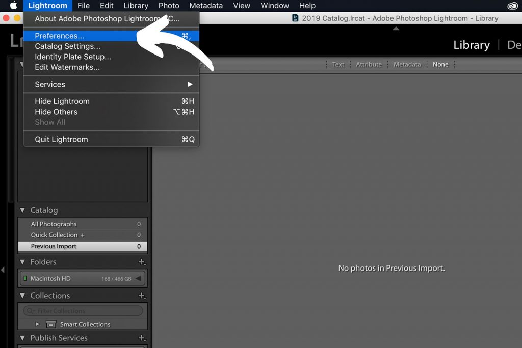 A printscreen showing step 1 of Lightroom presets how to install in Lightroom 6 and older versions of Lightroom