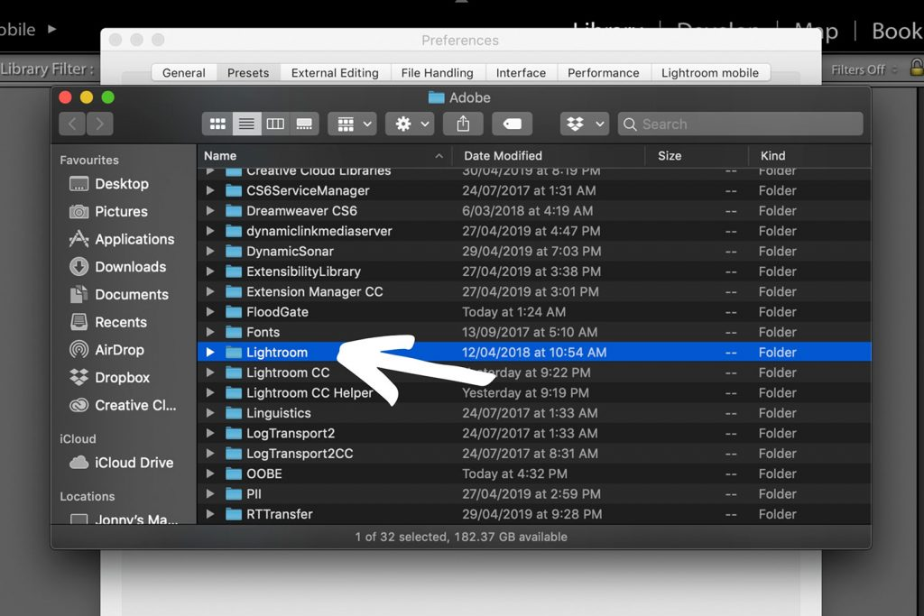 A printscreen showing step 3 of Lightroom presets how to install in Lightroom 6 and older versions of Lightroom