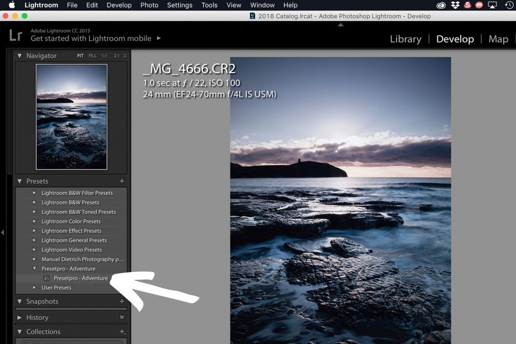 A printscreen showing step 6 of Lightroom presets how to install in Lightroom 6 and older versions of Lightroom