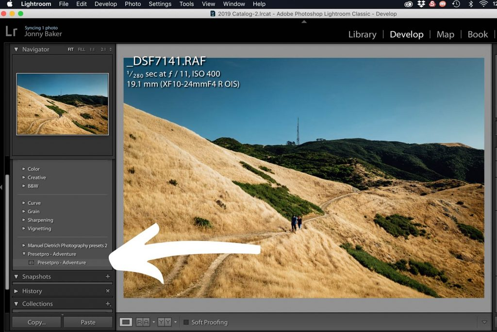 A printscreen showing step 5 of Lightroom presets how to install in Lightroom Classic CC