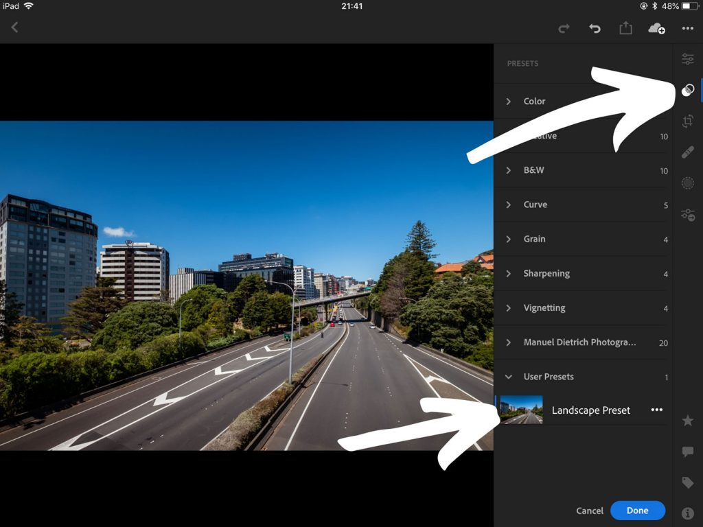 A printscreen showing step 7 of Lightroom presets how to install on Lightroom mobile