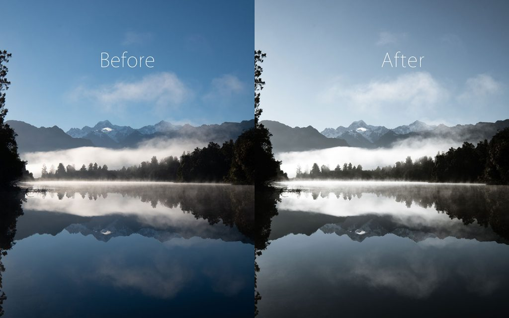 A comparison of two images looking at the before and after of using a Lightroom preset called Captain America one of the best free Lightroom landscape presets.