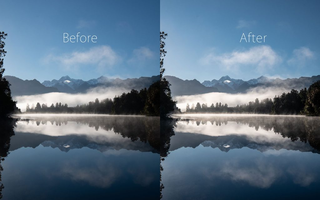A comparison of two images looking at the before and after of using a Lightroom preset called Crisp Mountains one of the best free Lightroom landscape presets.