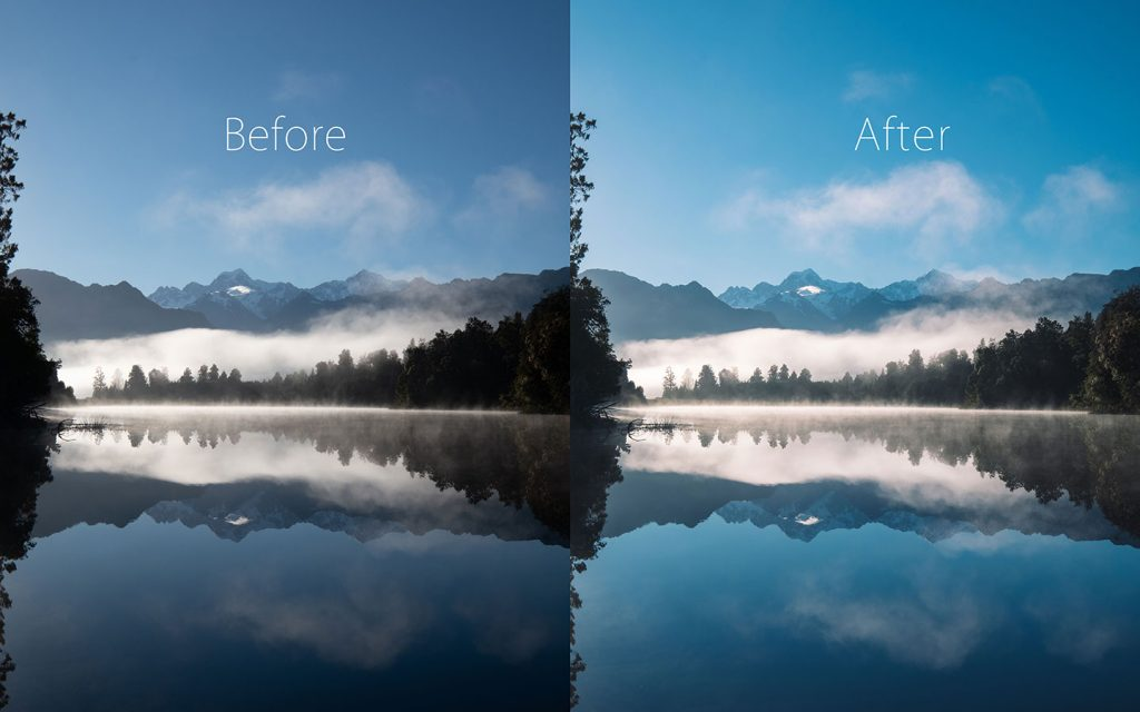A comparison of two images looking at the before and after of using a Lightroom preset called Icelandic one of the best free Lightroom landscape presets.