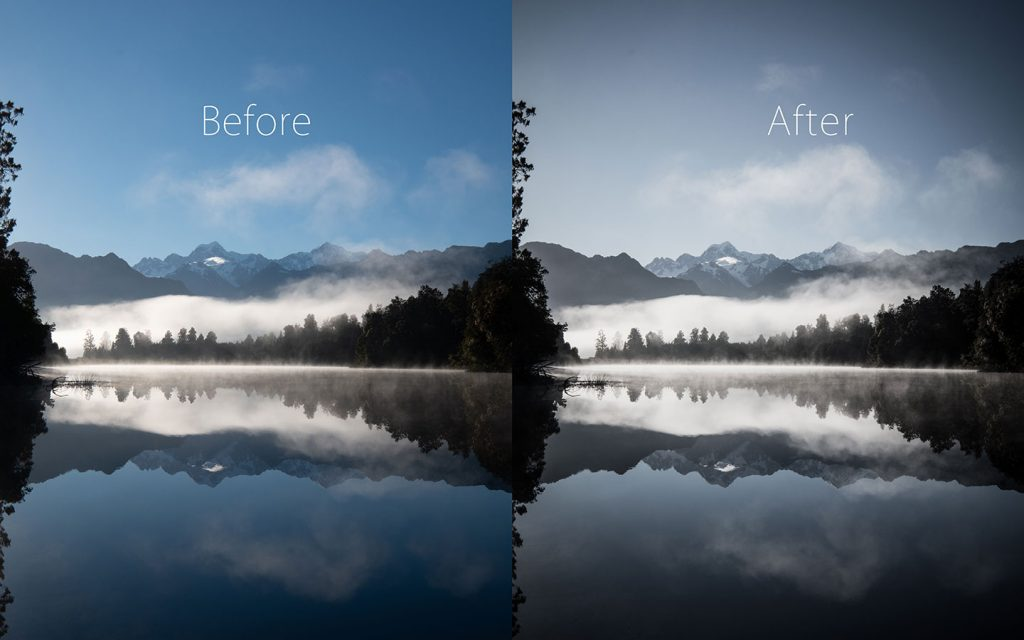 A comparison of two images looking at the before and after of using a Lightroom preset called Voodoo Lounge one of the best free Lightroom landscape presets.