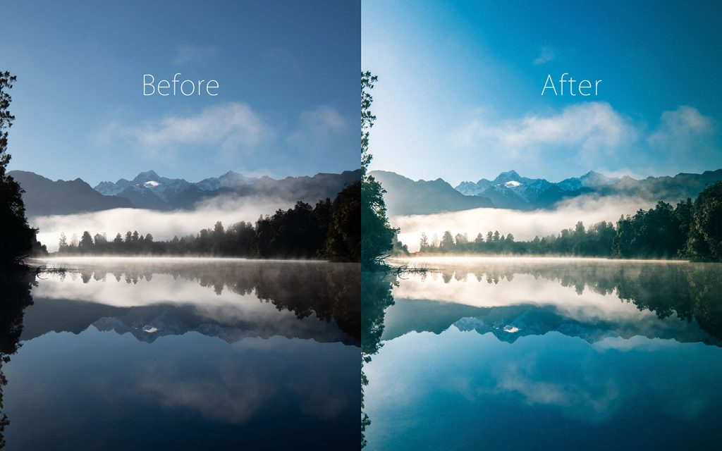 A comparison of two images looking at the before and after of using a Lightroom preset called Whistler.