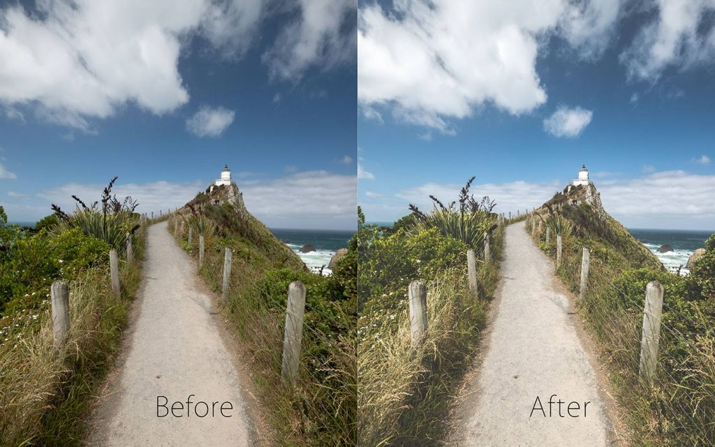 A comparison of two images looking at the before and after of using a Lightroom preset called Driftwood one of the best free Lightroom landscape presets.