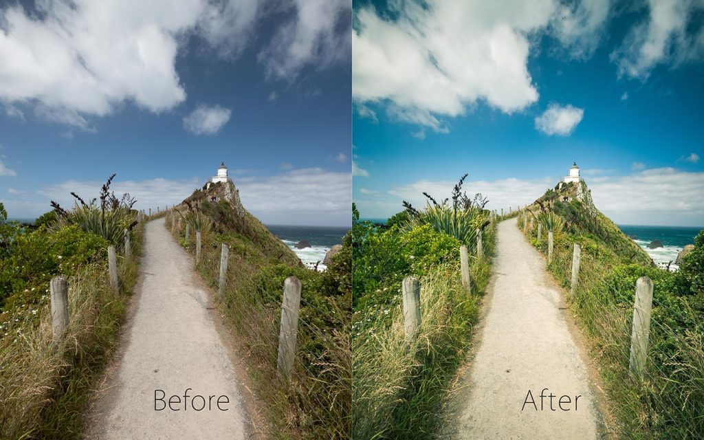 A comparison of two images looking at the before and after of using a Lightroom preset called Valley View one of the best free Lightroom landscape presets.