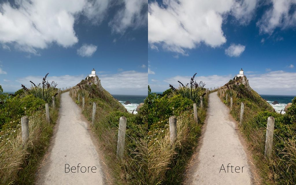 A comparison of two images looking at the before and after of using a Lightroom preset called Vast Landscapes one of the best free Lightroom landscape presets.