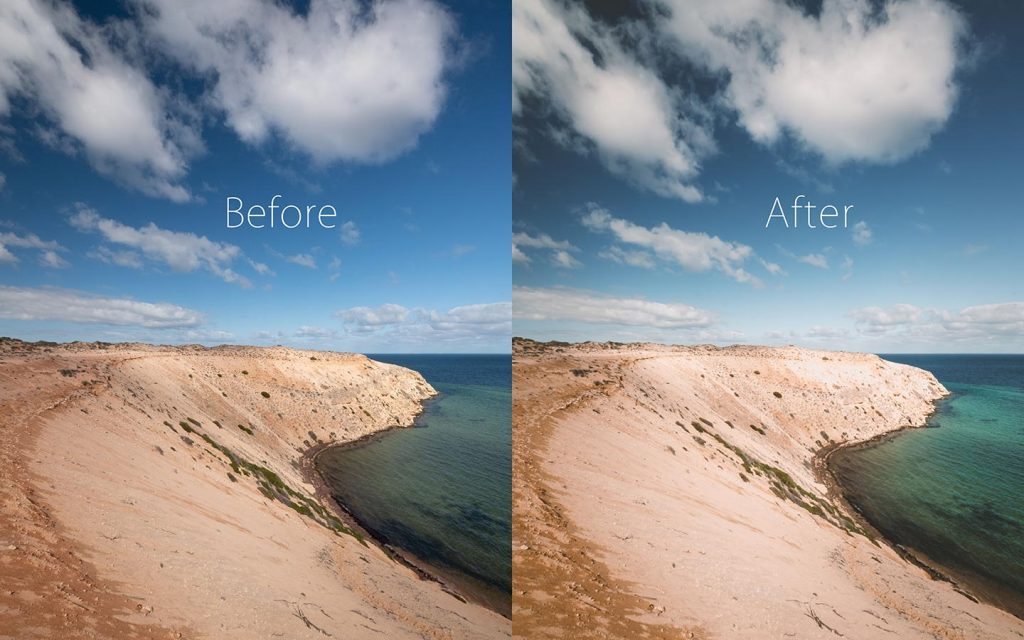 A comparison of two images looking at the before and after of using a Lightroom preset called Cali Color.