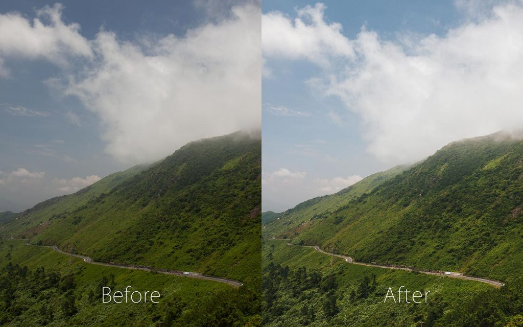 A comparison of two images looking at the before and after of using a Lightroom preset called Amalfi Coast.