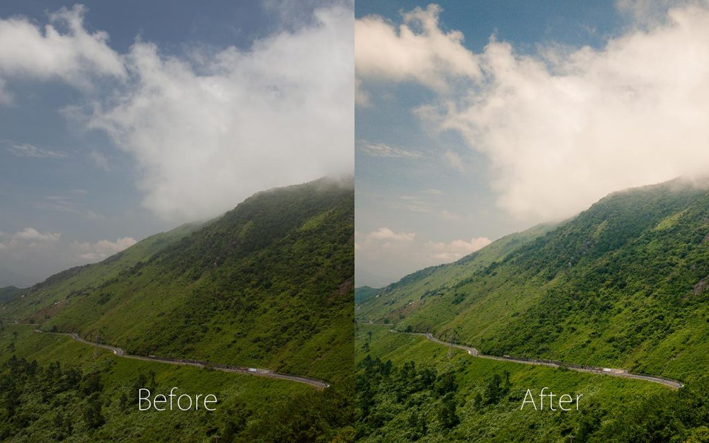 A comparison of two images looking at the before and after of using a Lightroom preset called San Francisco.