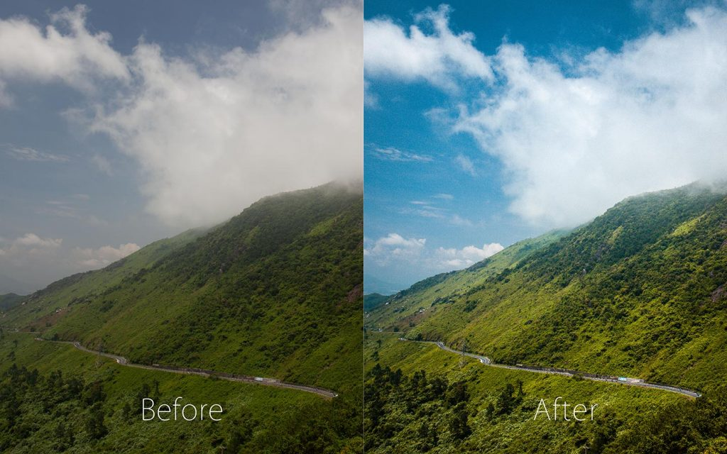 A comparison of two images looking at the before and after of using a Lightroom preset called Travel..