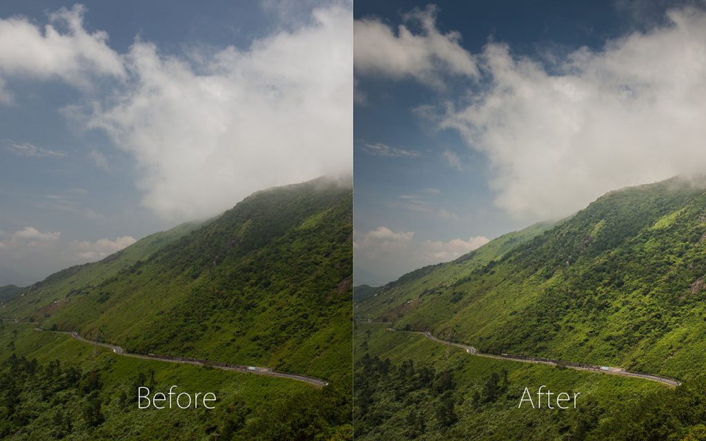 A comparison of two images looking at the before and after of using a Lightroom preset called Very Dynamic one of the best Lightroom landscape presets.