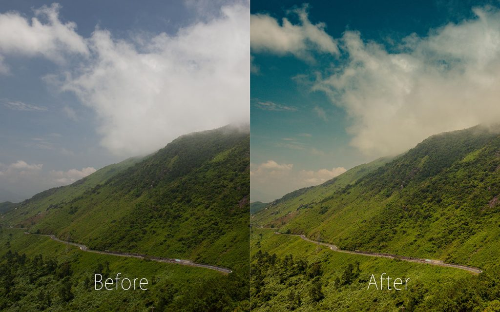 A comparison of two images looking at the before and after of using a Lightroom preset called Vista.