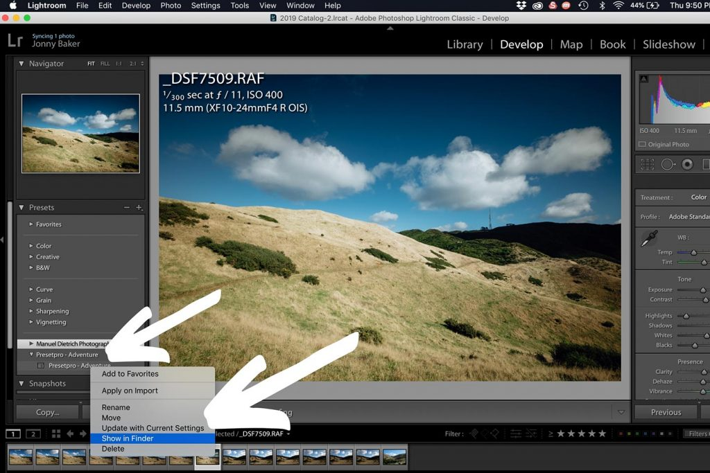 A printscreen of showing step 1 of the process of syncing your Lightroom presets from Lightroom Classic CC on your desktop computer to Lightroom CC on your mobile device. Lightroom presets how to install.