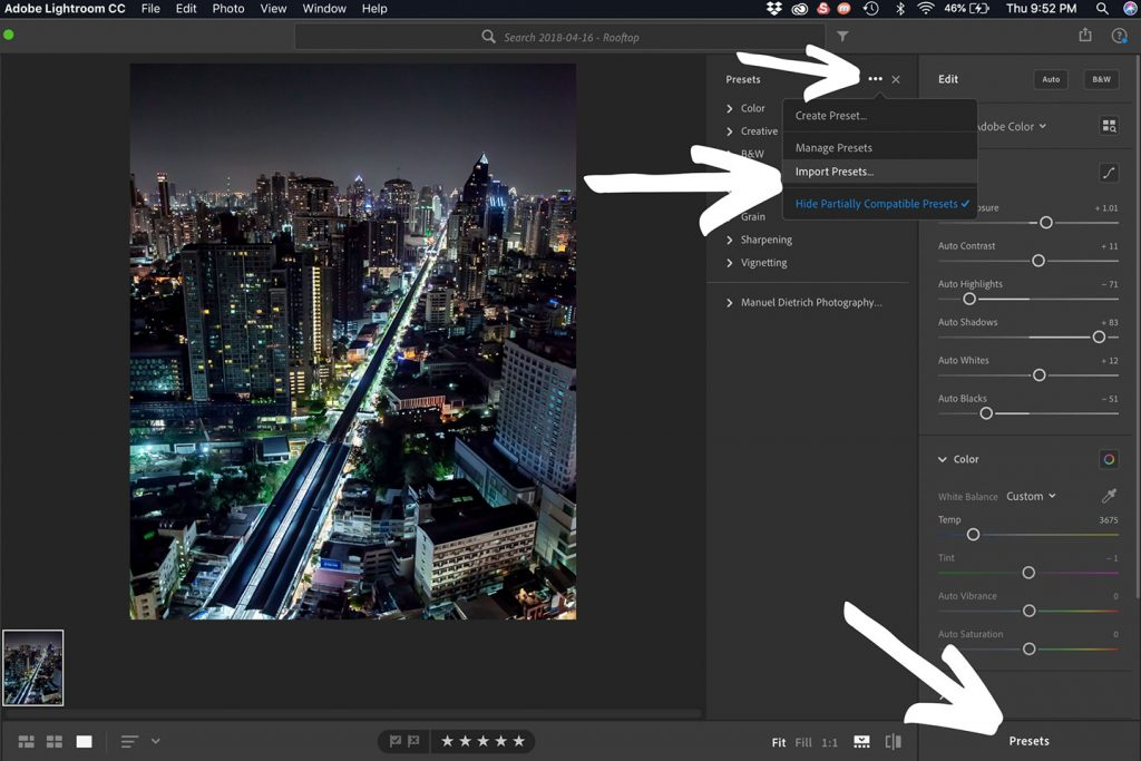 A printscreen showing step 4 of the process of syncing your Lightroom presets from Lightroom Classic CC on your desktop computer to Lightroom CC on your mobile device. Lightroom presets how to install.
