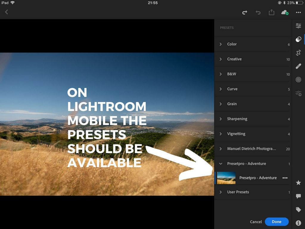 A printscreen showing step 6 of the process of syncing your Lightroom presets from Lightroom Classic CC on your desktop computer to Lightroom CC on your mobile device. Lightroom presets how to install.