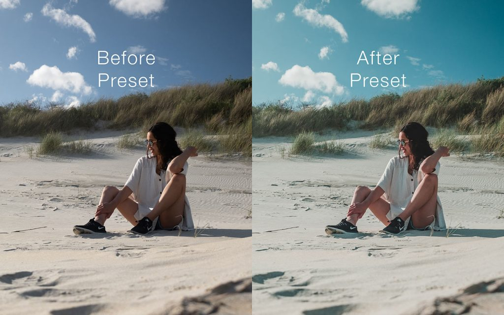 A comparison of two photos of an unedited image and one that has had a preset applied.