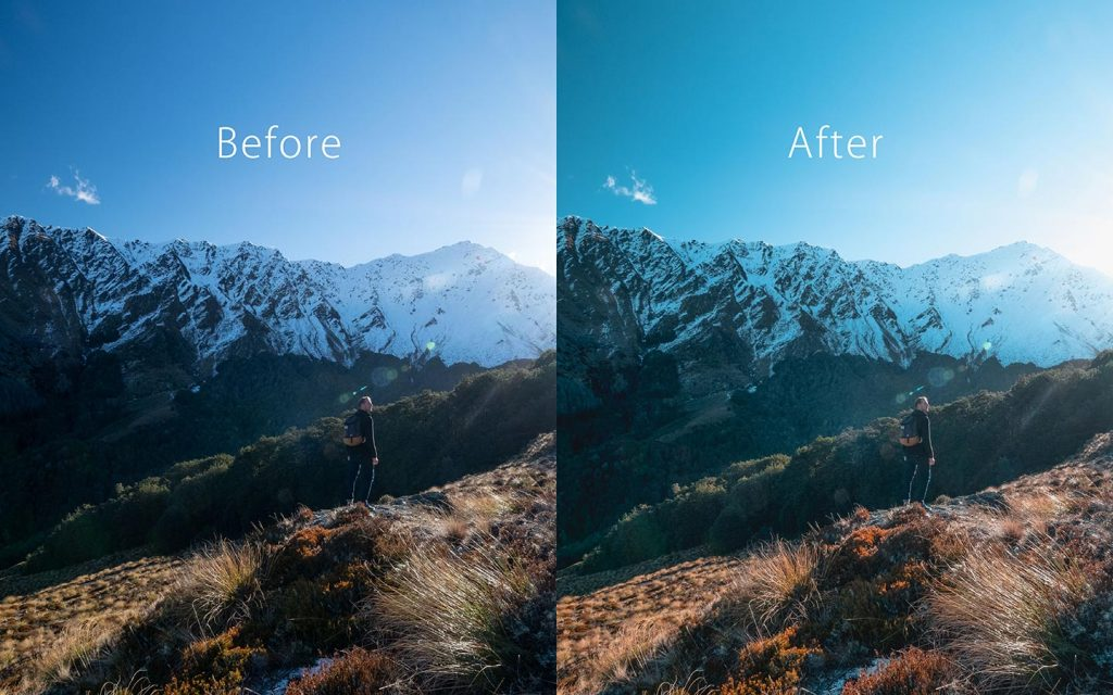 Looking at the difference between an unedited image and an image that has been edited with Adventure which is a Lightroom preset that you can use to improve your photos.
