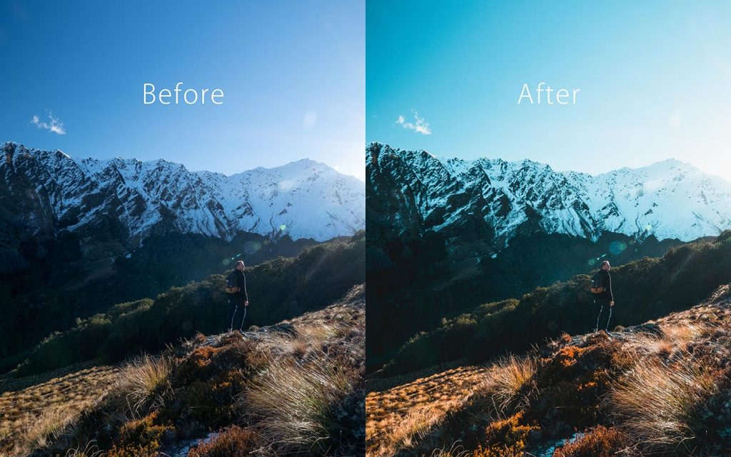 Looking at the difference between an unedited image and an image that has been edited with Aqua which is one of the best free Lightroom Instagram presets.