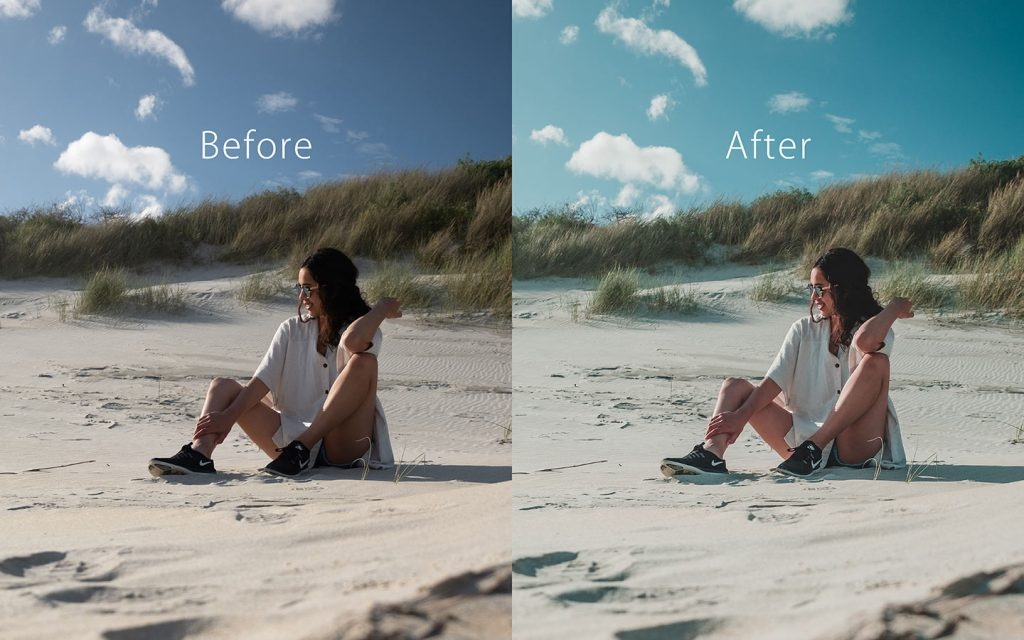 Looking at the difference between an unedited image and an image that has been edited with City People which is a Lightroom preset that you can use to improve your photos.