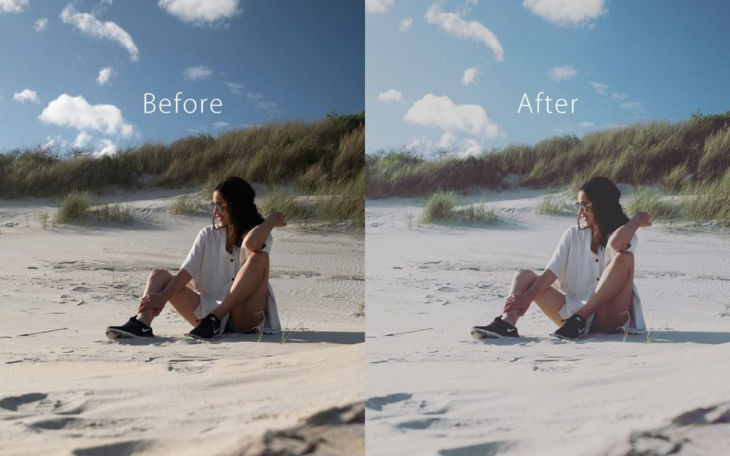 Looking at the difference between an unedited image and an image that has been edited with Gingham which is one of the best free Lightroom Instagram presets.