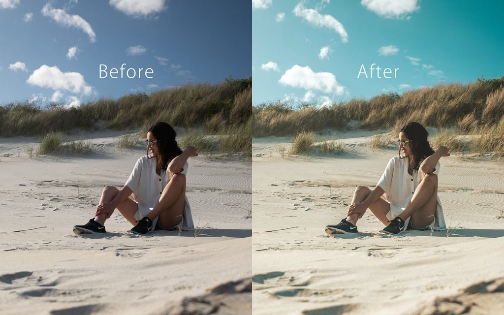 Looking at the difference between an unedited image and an image that has been edited with Insta Blogger which is a Lightroom preset that you can use to improve your photos.