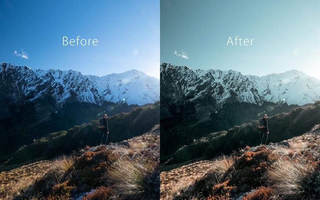 Looking at the difference between an unedited image and an image that has been edited with Insta Look which is a Lightroom preset you can use to improve your photos..