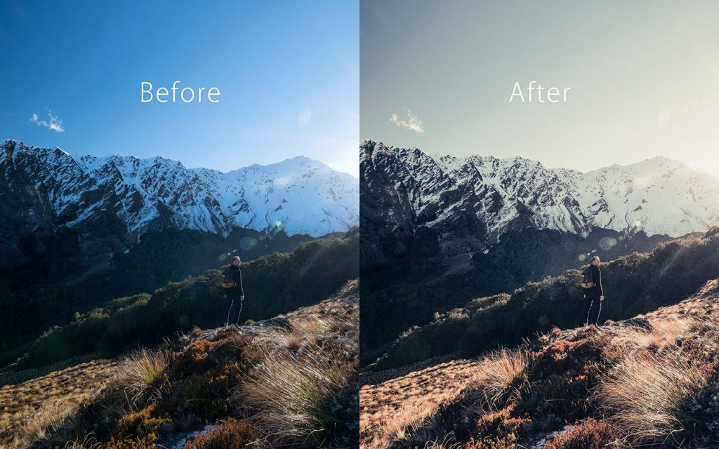 Looking at the difference between an unedited image and an image that has been edited with Morrison Hotel which is one of the best free Lightroom Instagram presets.