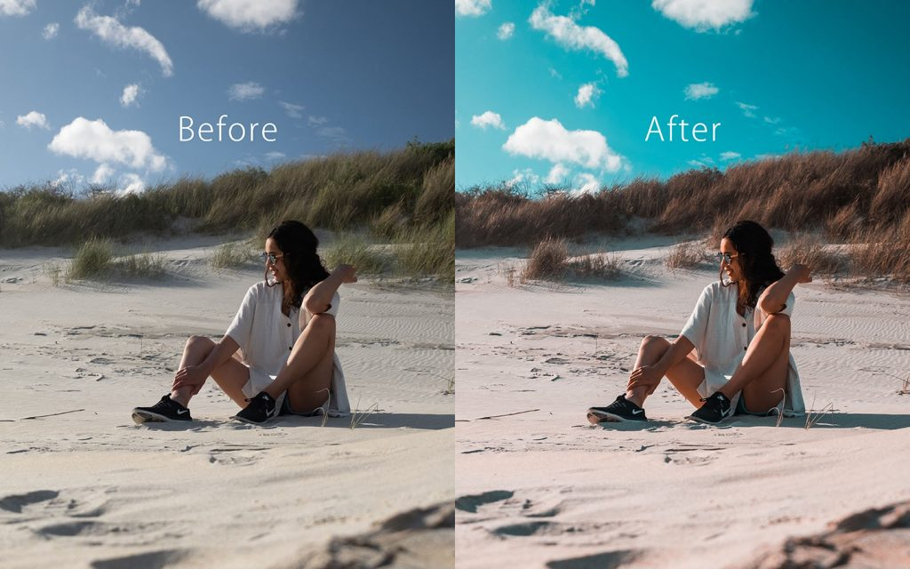 Looking at the difference between an unedited image and an image that has been edited with Orange & Teal which is one of the best free Lightroom Instagram presets.