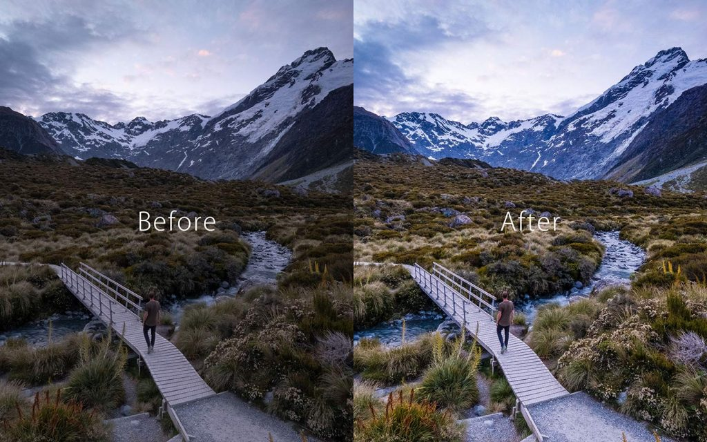 Looking at the difference between an unedited image and an image that has been edited by Rainy Portrait which is one of the best free Lightroom Instagram presets.
