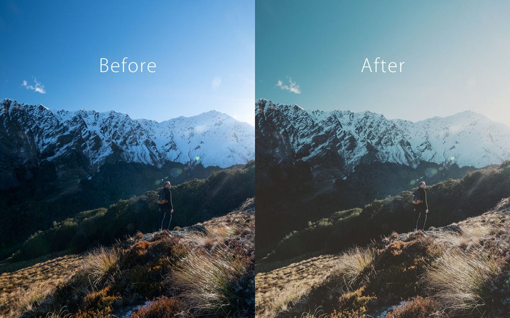 Looking at the difference between an unedited image and an image that has been edited with Reyes which is one of the best free Lightroom Instagram presets.