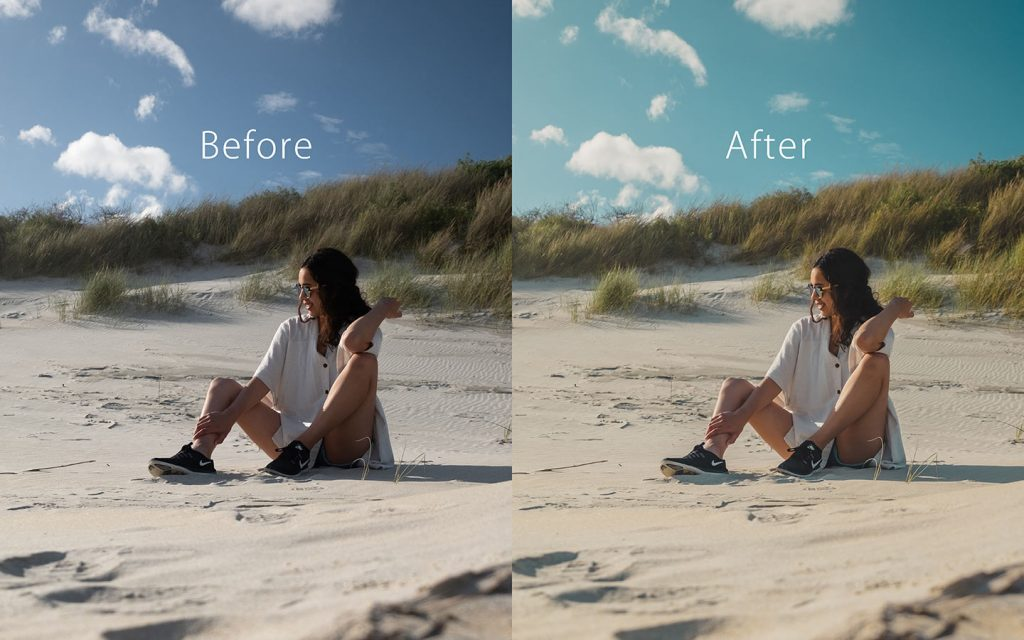 Looking at the difference between an unedited image and an image that has been edited with Stroll which is a Lightroom preset that you can use to improve your photos.