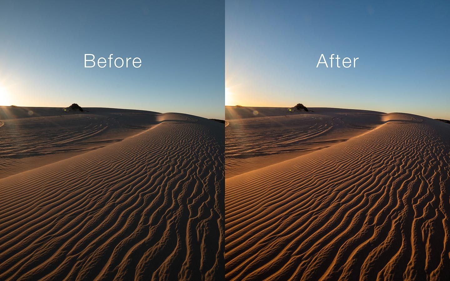 A before and after comparison of the landscape preset.