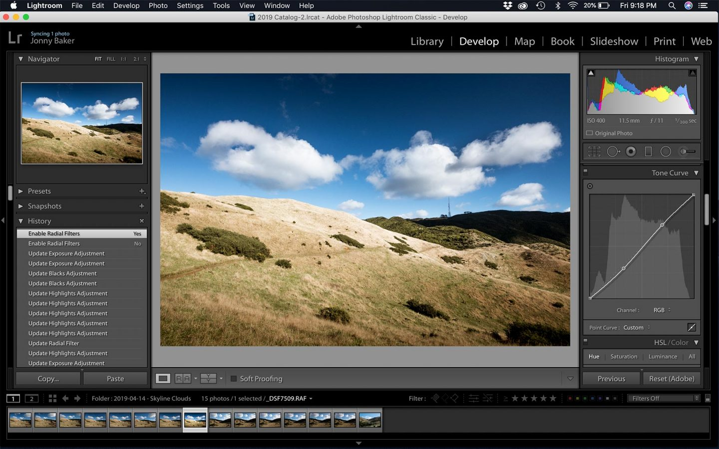 A screenshot of Lightroom Classic CC showing a landscape image being edited using some great Hacks.