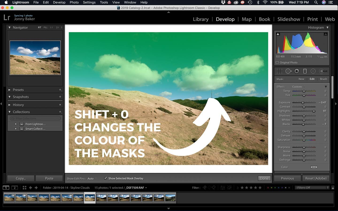 This screenshot shows how you can change the masks of adjustment filters within Lightroom by pressing Shift + O