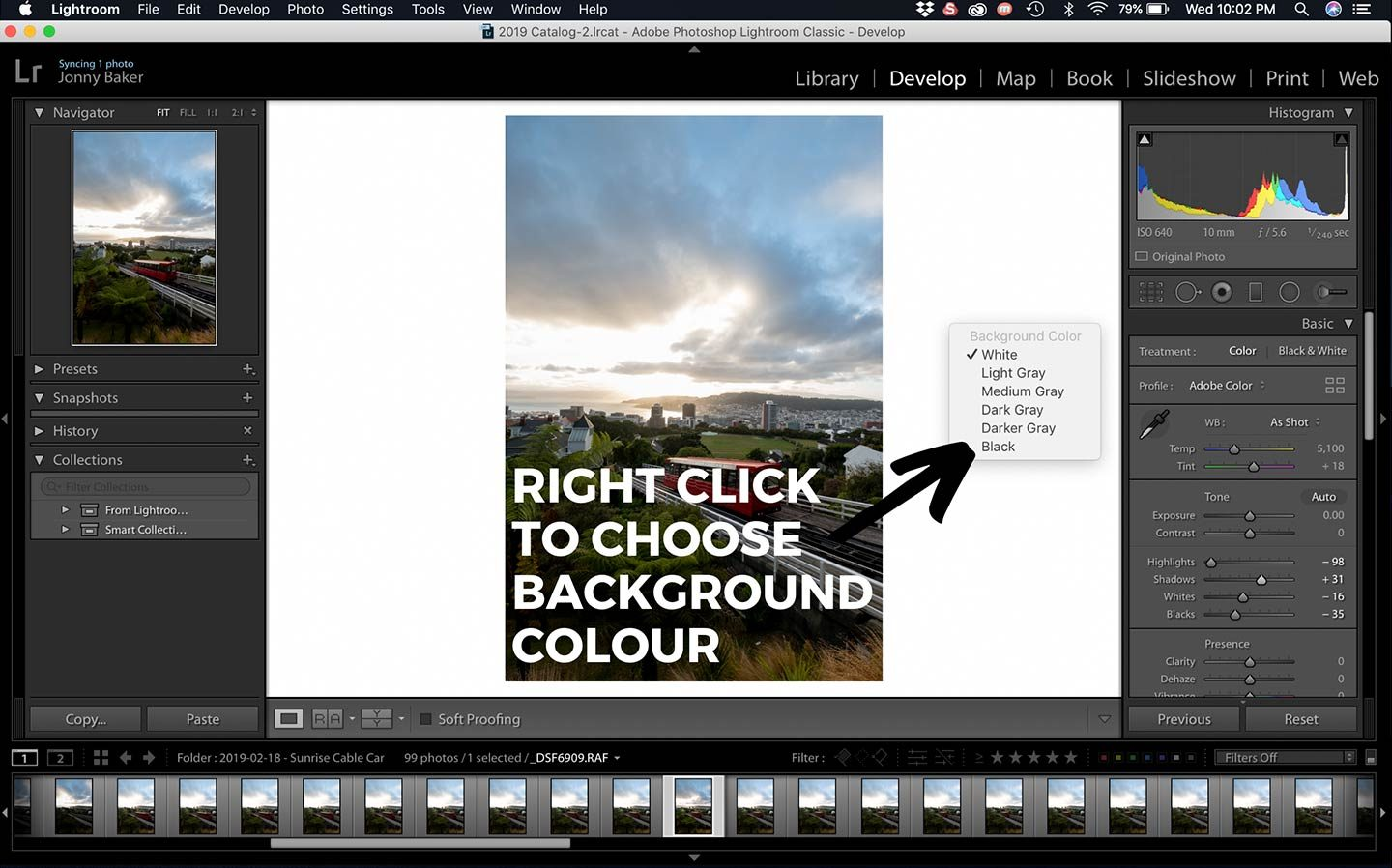 A really simple Lightroom Hack that is shown in this screenshot is how to change the background colour of Lightroom.