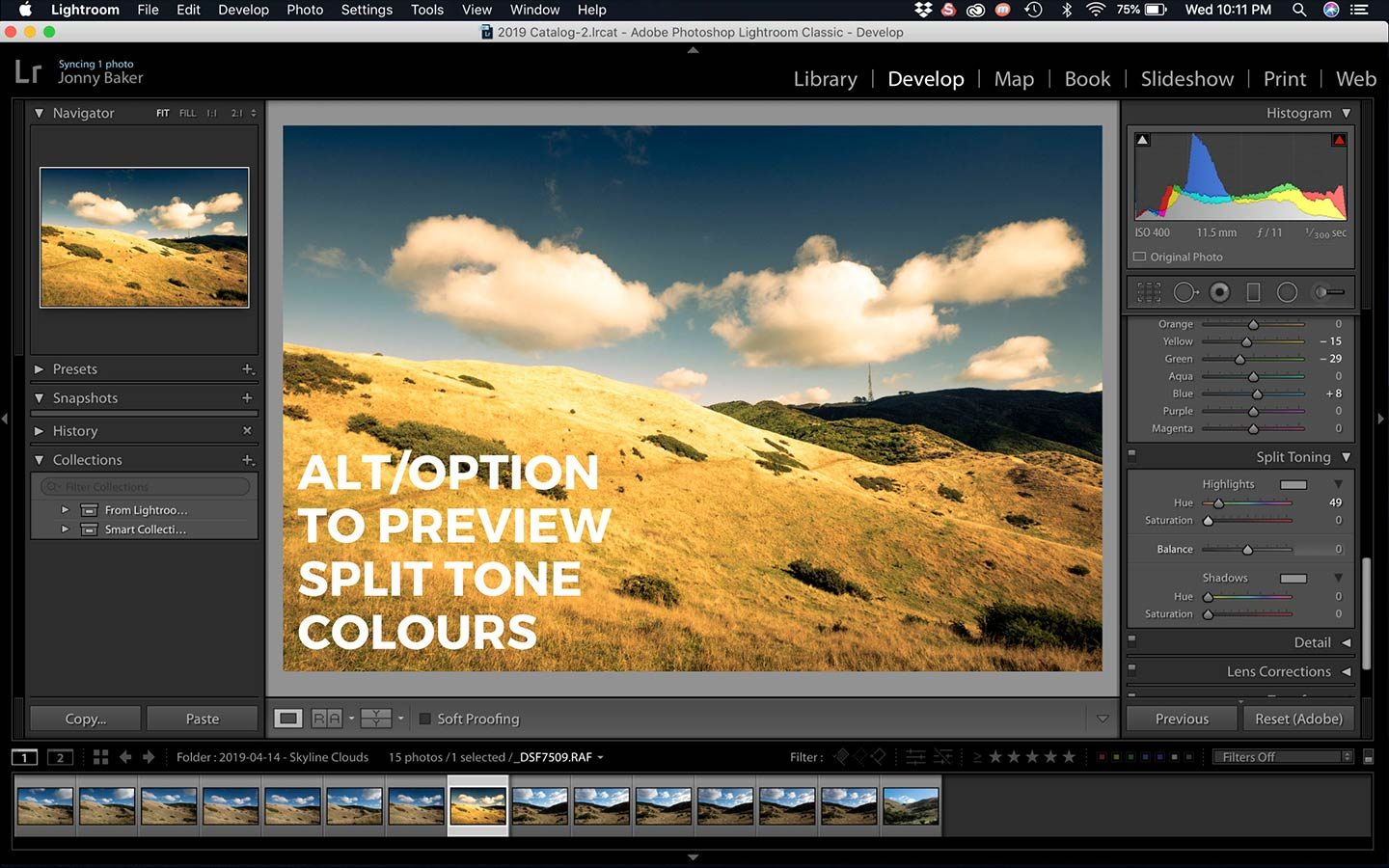 A screenshot of a great trick that allows you to view the colour you are selecting when split toning in Lightroom.