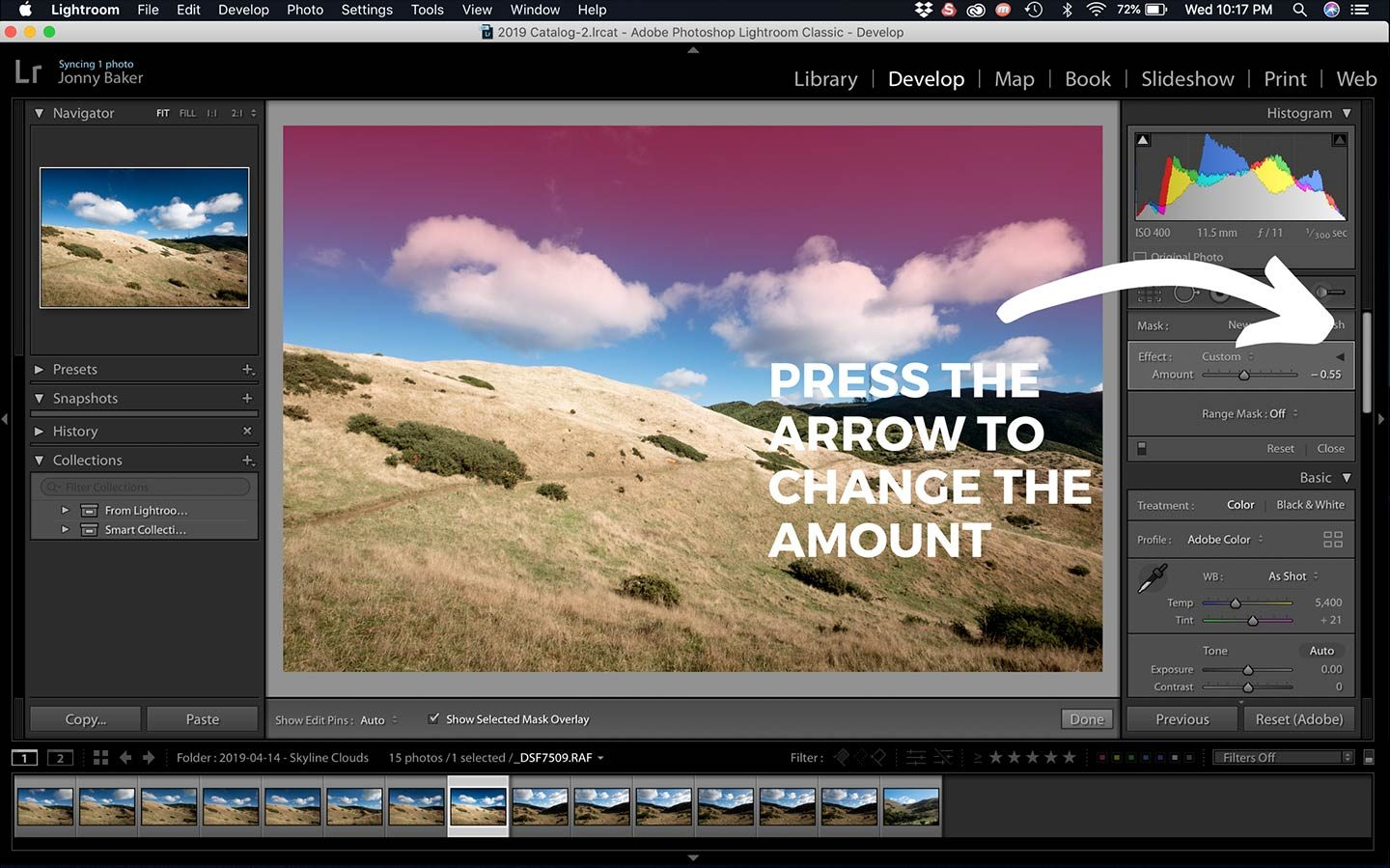 This screenshot of Lightroom shows how to change the amount of a filter adjustment which is very useful.