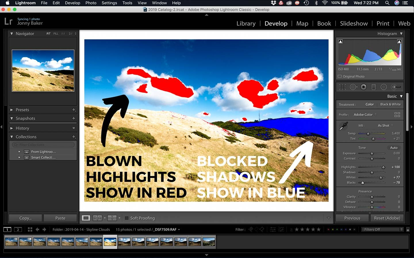 A great Lightroom Hack that is shown in this screenshot is the use of clipping warnings. These help you to see whether your photos are underexposed or overexposed.