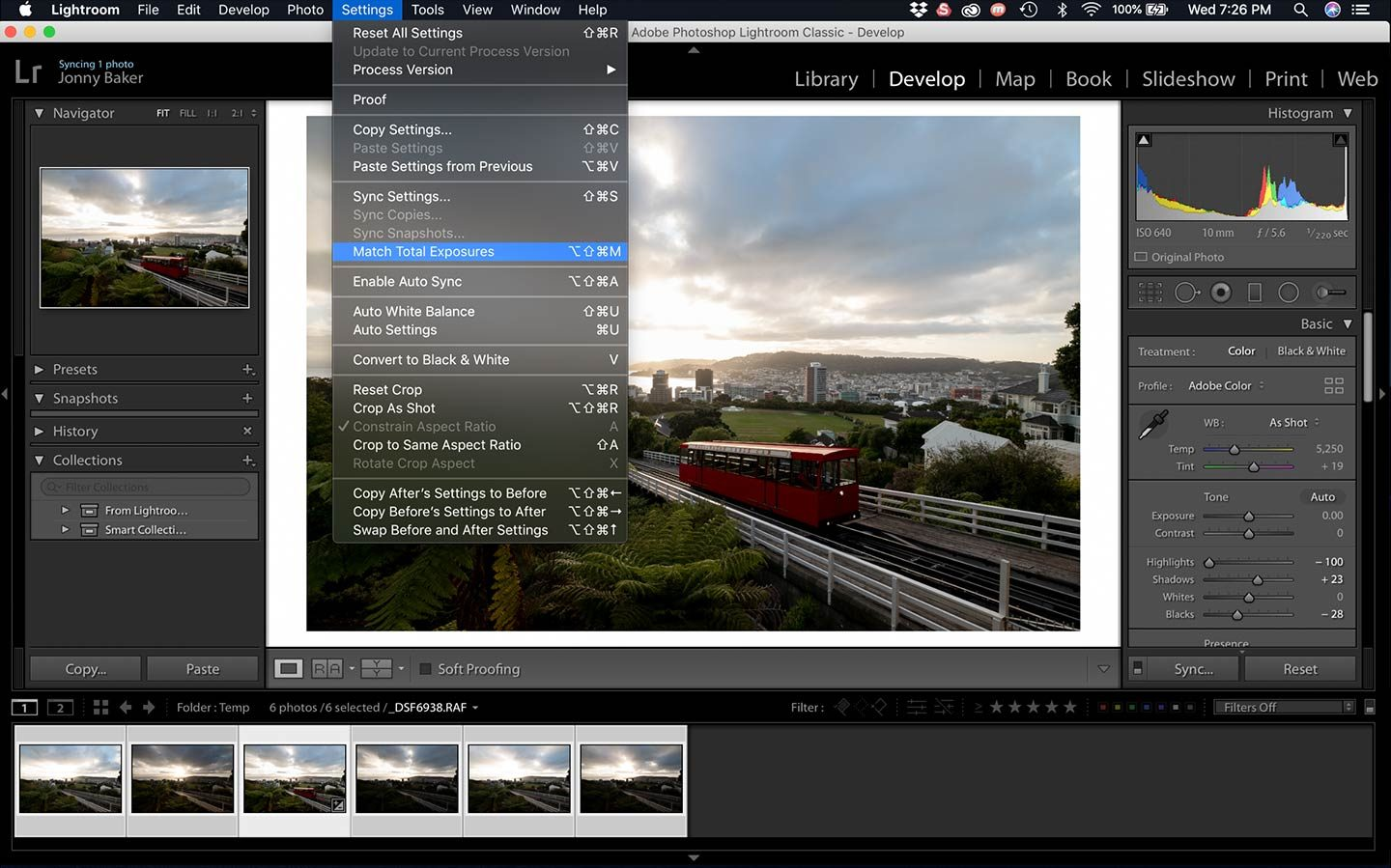 This screenshot shows you how to use Match Total Exposures, a tool in Lightroom