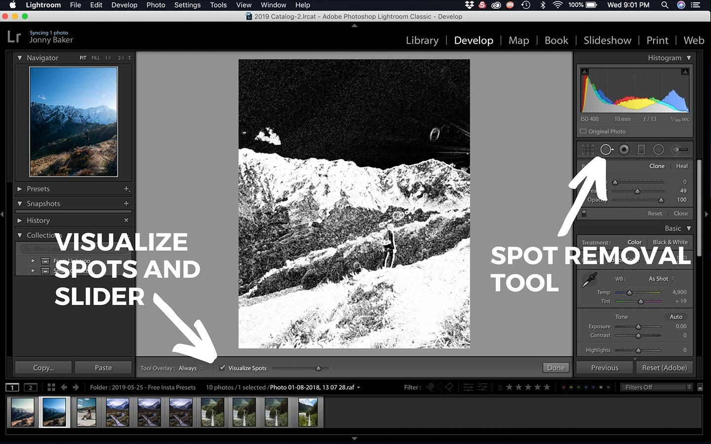 Visualise spots is a great Lightroom hack that helps you identify dust spots on your photos. You can see what it looks like from this screenshot.
