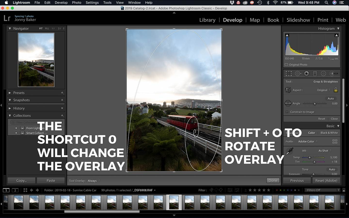 In this screenshot we can see how we can change the crop overlay function within Lightroom and the shortcuts you can use.