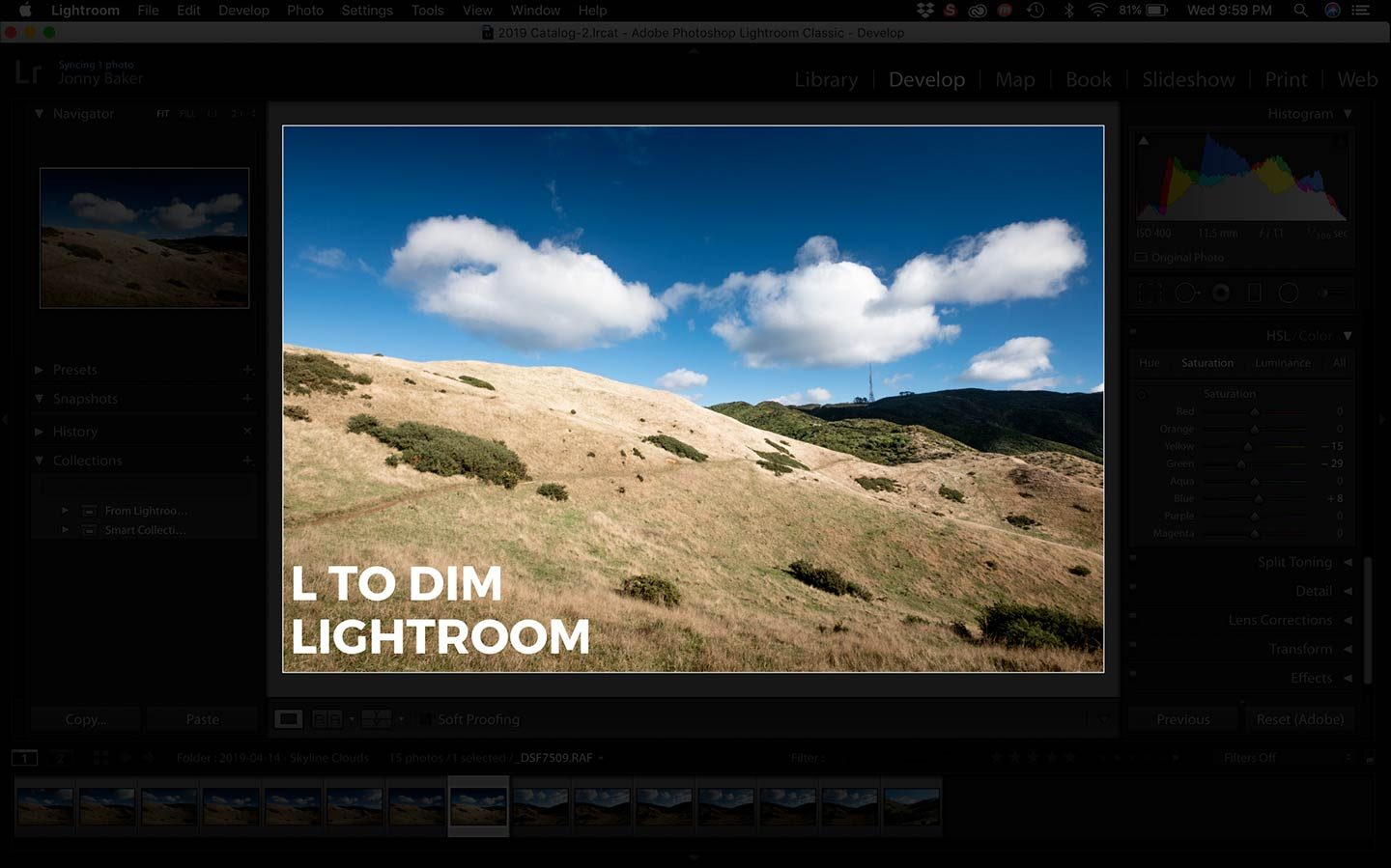 In the screenshot you can see the shortcut that dims Lightroom to make your photo stand out more.