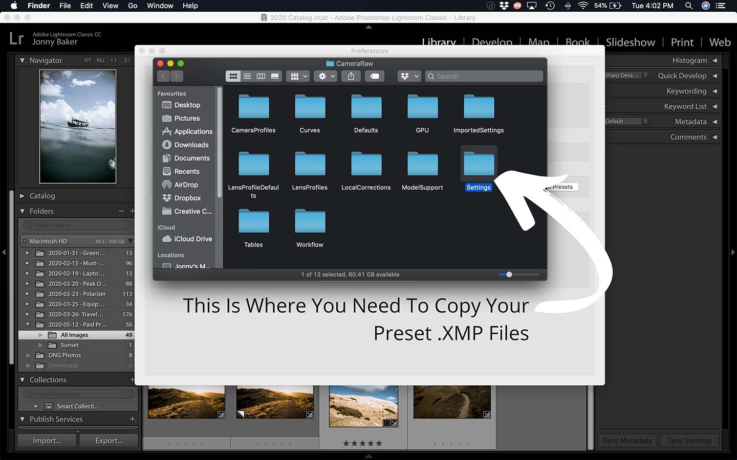 A second printscreen that helps explain the process of installing new Lightroom presets.